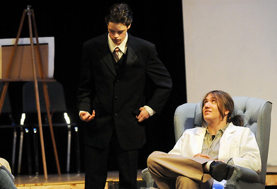 Michael Lund, left, playing Senator Savage, talks with Scott Kerr, playing Dr. Emmett, during rehearsal for the Broomfield High production of Curious Savage on Wednesday.  October 7, 2009 Staff photo/David R. Jennings