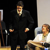 Michael Lund, left, playing Senator Savage, talks with Scott Kerr, playing Dr. Emmett, during rehearsal for the Broomfield High production of Curious Savage on Wednesday.<br /> <br /> October 7, 2009<br /> Staff photo/David R. Jennings