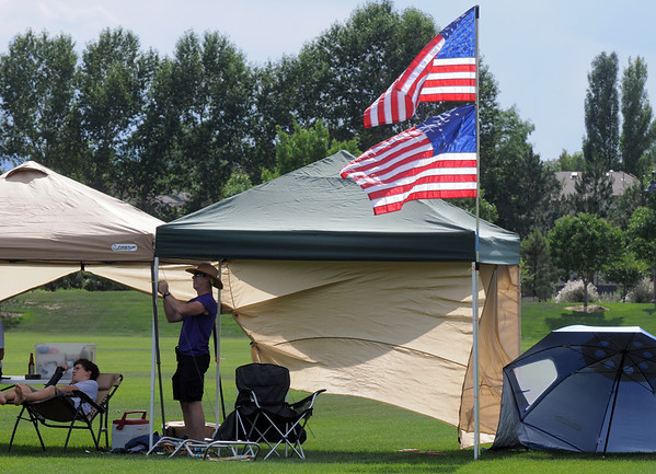 Tents were set up early in the Broomfield County Commons Park for the Great American Picnic on Monday.<br /> <br /> July 4, 2011<br /> staff photo/ David R. Jennings