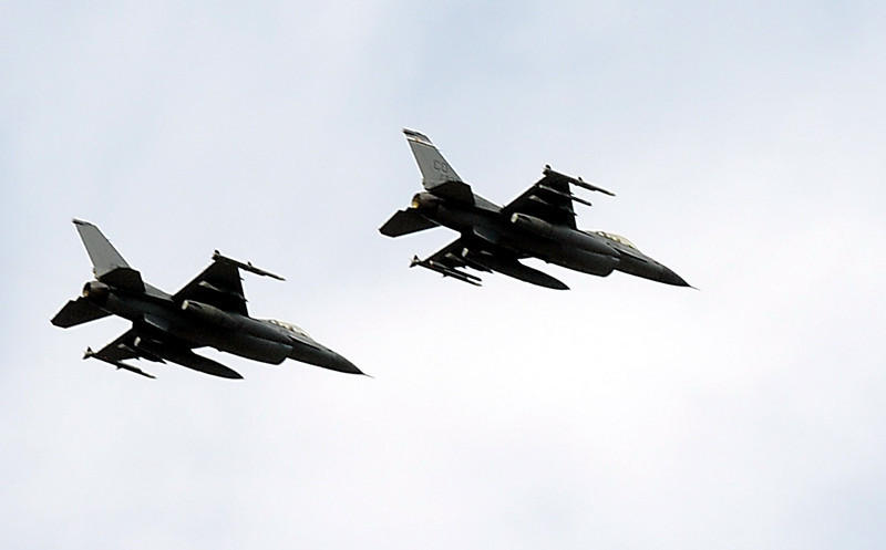 Colorado Air National Guard F-16 fighters fly over the Great American Picnic at the Broomfield County Commons Park on Monday.<br /> <br /> July 4, 2011<br /> staff photo/ David R. Jennings