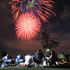 Spectators watch the extended fireworks display during the Great American Picnic at the Broomfield County Commons Park on Monday.<br /> July 4, 2011<br /> staff photo/ David R. Jennings