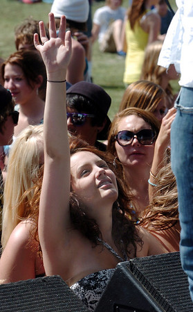 Sam Haedrich, 18, raises her arm to the music of In Audika during Thursday's Broomstock 2010 at the Broomfield County Commons. <br /> May 27, 2010<br /> Staff photo/ David R. Jennings