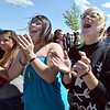 Morgan Encinias, 14, left, Jennifer Sandoval, 20, and Brooklyn Calbraith, 21, sing along to the rap music of  Michael Hubbard of  Miike during Broomstock 2012 at the Broomfield County Commons on Thursday.<br /> <br /> May 24, 2012 <br /> staff photo/ David R. Jennings
