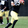 CUFOOTBALL<br /> Safety Jalil Brown runs drills during practice on Friday.<br /> Photo by Marty Caivano/Camera/April 2, 2010