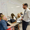 University of Colorado Law School student Garrett Anderson, right,  talks with Legacy High School junior Fiona Dretzka, left, about a Fourth Amendment argument for a hypothetical case during class in recognition of Constitution Day at the school on Friday.<br /> September 20, 2012<br /> staff photo/ David R. Jennings