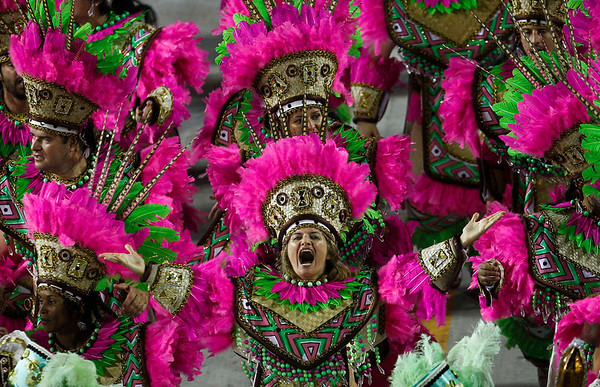 Brazil Carnival.JPEG-0f81c.JPG Dancers of Mangueira samba school parade during carnival celebrations at the Sambadrome in Rio de Janeiro, Brazil, Tuesday, Feb. 21, 2012. (AP Photo/Victor R. Caivano)