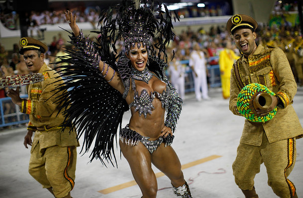 Brazil Carnival.JPEG-0c383.JPG Drum queen Gracyanne Barbosa, from Unidos da Tijuca samba school, dances during carnival parade at the Sambadrome in Rio de Janeiro, Brazil,  Nearly 100,000 paying spectators turn out for the all-night spectacle at the Sambadrome. (AP Photo/Felipe Dana)