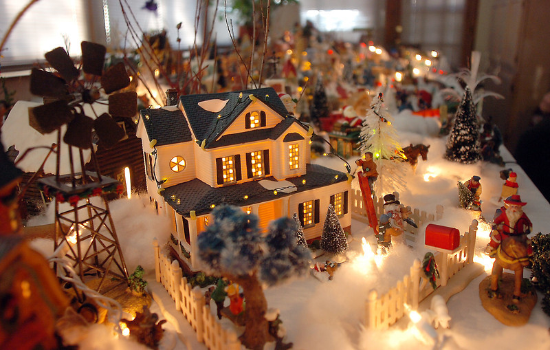 The farm section of Carol and Marty Clever's Christmas village containing 53 buildings and over 2000 accessories on a 14 foot long and four foot wide table at their home on Saturday.<br /> December 17, 2011<br /> Staff photo/ David R. Jennings