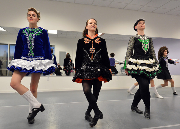 Courtney Shepard, left, Elizabeth Van Noy and Liz Withers perform an Irish dance at the Celtic Steps  dance studio on Thursday in Superior.<br /> January 4, 2013<br /> staff photo/ David R. Jennings