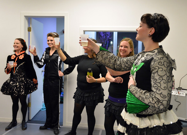 Liz Withers, right, gives a toast at the Celtic Steps  dance studio on Thursday in Superior.<br /> January 4, 2013<br /> staff photo/ David R. Jennings