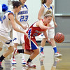 Broomfield's xxx against Centaurus' Lauren Esler, right, scrambles after a loose ball against Broomfield's Brenna Chase during Tuesday's game at Broomfield.<br /> February 19, 2013<br /> staff photo/ David R. Jennings