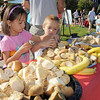 Isabelle Jezierski, left, and her brother Alexander, 5, pick out food for breakfast during  Saturday's 2011 Children's Wellness Adventure at Community Park.<br /> August 27, 2011<br /> staff photo/ David R. Jennings