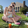 Karin Zuniga and her daughter Abby, 2 1/2, eat breakfast  at Saturday's 2011 Children's Wellness Adventure.<br /> August 27, 2011<br /> staff photo/ David R. Jennings
