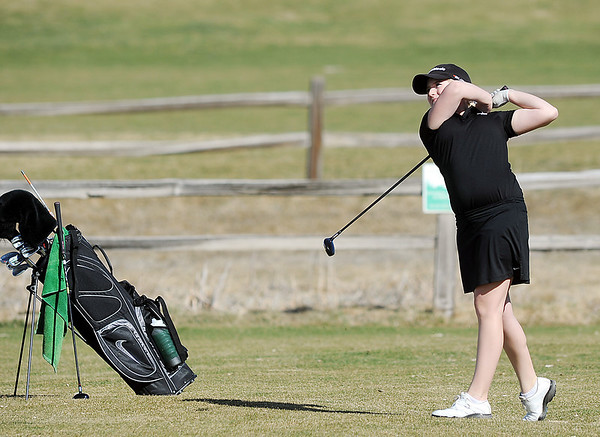 Fairveiw's Kelly Moran chips on the 11th green at the Chilly/Chili Invite golf tournament hosted by Broomfield High School at the Eagle Trace golf Course on Saturday.<br /> March 17,  2012 <br /> staff photo/ David R. Jennings