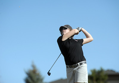 Fairview's Megan McCambridge tees off of the 11th hole at the Chilly/Chili Invite golf tournament hosted by Broomfield High School at the Eagle Trace golf Course on Saturday. March 17,  2012  staff photo/ David R. Jennings