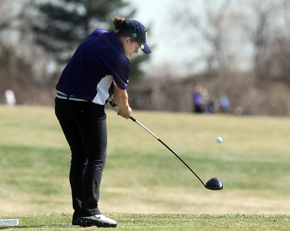 Boulder's Alex Jaros tees off of on the 2nd  hole at the Chilly/Chili Invite golf tournament hosted by Broomfield High School at the Eagle Trace golf Course on Saturday.<br /> March 17,  2012 <br /> staff photo/ David R. Jennings