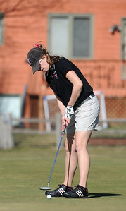 Fairview's Megan Mccambridge putts on the 10th at the Chilly/Chili Invite golf tournament hosted by Broomfield High School at the Eagle Trace golf Course on Saturday. March 17,  2012  staff photo/ David R. Jennings