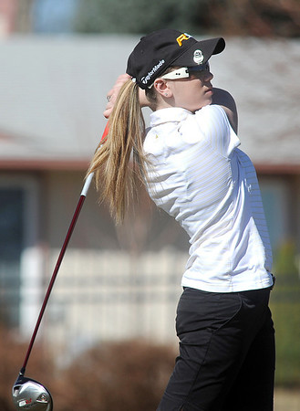 Skyline's Danielle Mercore hits the ball off of the 12th hole at the Chilly/Chili Invite golf tournament hosted by Broomfield High School at the Eagle Trace golf Course on Saturday.<br /> March 17,  2012 <br /> staff photo/ David R. Jennings