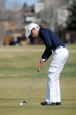 Sara Hankins, Legacy, putts on the 6th green at the Chilly/Chili Invite golf tournament hosted by Broomfield High School at the Eagle Trace golf Course on Saturday.<br /> March 17,  2012 <br /> staff photo/ David R. Jennings