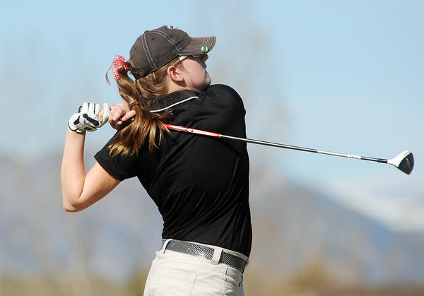 Fairview's Megan McCambridge tees off the 10th at the Chilly/Chili Invite golf tournament hosted by Broomfield High School at the Eagle Trace golf Course on Saturday.<br /> March 17,  2012 <br /> staff photo/ David R. Jennings