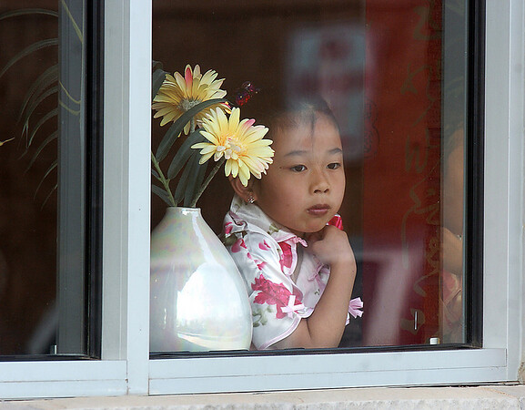 A customer looks out of the window at te Lion Dance for the Chinese New Year at the Broomfield United Chinese Restaurant on Sunday. February 3rd is the beginning of the Chinese New Year, the year of the rabbit.<br /> <br /> January 30, 2011<br /> staff photo/David R. Jennings