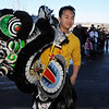 Thanh Trinh with the Tai Kung Ha Holistic Fitness Center readies to perform the Lion Dance for Chinese New Year, the year of the Tiger, at Pacific Ocean Marketplace in Broomfield on Sunday.<br /> <br /> February 14, 2010<br /> Staff photo/David R. Jennings