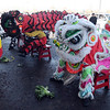 The Lions of Tai Kung Ha Holistic Fitness Center wait to grab the lettuce at their feet during the Lion Dance in celebration of the Chinese New Year, the year of the Tiger, at Pacific Ocean Marketplace in Broomfield on Sunday.<br /> <br /> February 14, 2010<br /> Staff photo/David R. Jennings