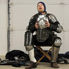 Anton Von Strassburg ( Gary Holland) rests after a sword fight during the heavy weapons practice at the Society for Creative Anachronism meeting of the Barony of Caer Galen for Boulder and Broomfield counties at the Boulder County Fairgrounds in Longmont on Tuesday.<br /> <br /> <br /> January 12, 2010<br /> Staff photo/David R. Jennings