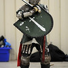 Mustafa Kamal (Jim Stanley, of Broomfield) waits for his turn at combat during heavy weapons practice at the Society for Creative Anachronism meeting of the Barony of Caer Galen for Boulder and Broomfield counties at the Boulder County Fairgrounds in Longmont on Tuesday.<br /> <br /> <br /> January 12, 2010<br /> Staff photo/David R. Jennings