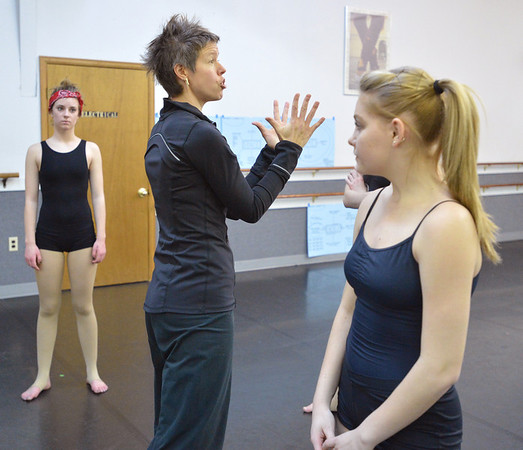 Instructor Kaila June Gidley, center, gives pointers to dancers during the choreography class at Dance Arts Studio on Saturday.<br /> January 26, 2013<br /> staff photo/ David R. Jennings