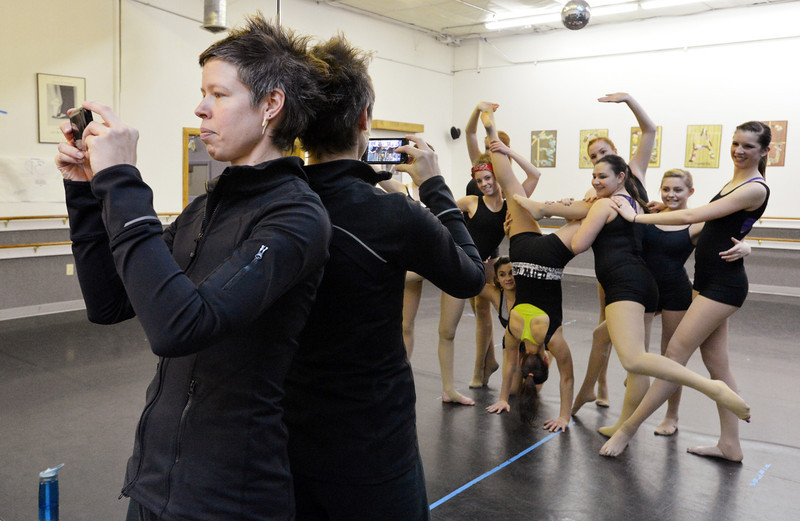 Instructor Kaila June Gidley takes  a picture of the dancers performing movement exercise during the choreography class at Dance Arts Studio on Saturday.<br /> January 26, 2013<br /> staff photo/ David R. Jennings