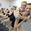Hailey Mohler, 17, right, and Corrynn Johnson, 16, lead the line during the choreography class at Dance Arts Studio on Saturday.<br /> January 26, 2013<br /> staff photo/ David R. Jennings