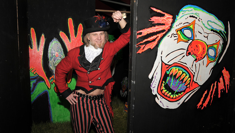 "Rob ""Ringmaster Cano"" Hodges pose in the maze of the Circus of Fear 3D Haunted Fun House at FatCats  in Westminster on Thursday.<br /> <br /> September 29, 2011<br /> staff photo/ David R. Jennings"