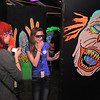 Northglenn High students Kelsey Nelson, left, and Jasmine Heide, wearing 3D glasses, take pictures of the scarey clowns in part of the maze of the Circus of Fear 3D Haunted Fun House at FatCats  in Westminster on Thursday.<br /> <br /> September 29, 2011<br /> staff photo/ David R. Jennings