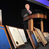 Retired Broomfield City and County Manager George Di Ciero gives his speech behind his numerous awards during his retirement party, on Saturday, at the Omni Interlocken Hotel and Resort.<br /> July 30, 2011<br /> staff photo/ David R. Jennings