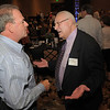 Broomfield Police Chief Tom Deland, left, chats with retied Broomfield City and County Manager George Di Ciero during Di Ciero's retirement party, on Saturday, at the Omni Interlocken Hotel and Resort.<br /> July 30, 2011<br /> staff photo/ David R. Jennings