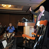 Retired Broomfield City and County Manager George Di Ciero waves goodbye to the attendees after his speech at his retirement party, on Saturday, at the Omni Interlocken Hotel and Resort.<br /> July 30, 2011<br /> staff photo/ David R. Jennings