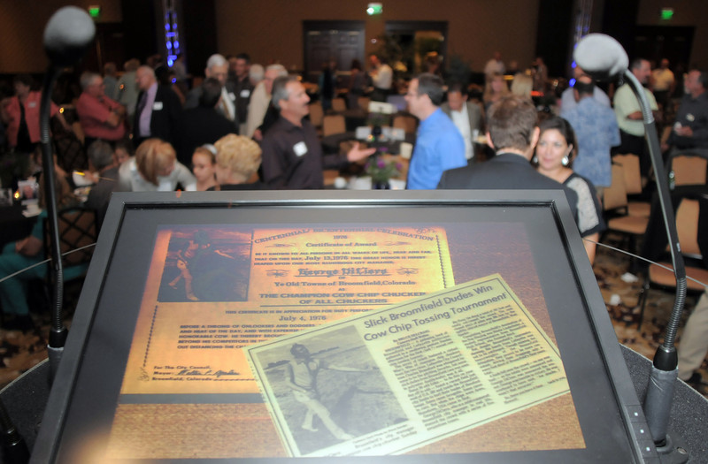 Newspaper clippings on display after the retirement party for  Broomfield City and County Manager George Di Ciero, on Saturday, at the Omni Interlocken Hotel and Resort.<br /> July 30, 2011<br /> staff photo/ David R. Jennings