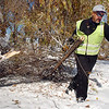 Rich Lozano, parks operations for the Broomfield City and County,  on Wednesday, drags a tree branch that fell in Northmoor Park to the wood chipper.<br /> October 27, 2011<br /> staff photo/ David R. Jennings