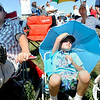 John Blayter and his sons Rusty Blayter, 7, and Grant Blayter, 6, watch airplane aerobatic tricks during the Colorado Sport International Air Show on Saturday, Aug. 22, 2009 at the Rocky Mountain Metropolitan Airport in Broomfield. <br /> <br /> VIDEO INLINE: VIDEO: VIDEO: BROOM AIR SHOW 2009<br /> <br /> Photo by Mara Auster/Daily Camera