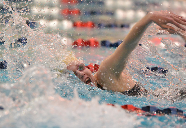 Legacy's Mary Lombardi swimming the 200 yard freestyle during the Colorado Coaches Association Invitational at the Veterans Memorial Aquatic Center in Thornton on Saturday.<br /> December 14, 2012<br /> staff photo/ David R. Jennings