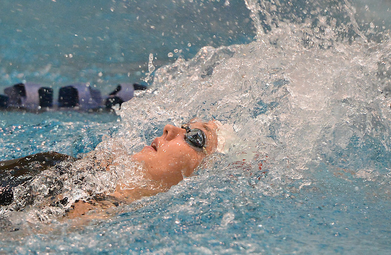Fairview's Julia Box swims the backstroke in the 200 yard medley relay during the Colorado Coaches Association Invitational at the Veterans Memorial Aquatic Center in Thornton on Saturday.<br /> December 14, 2012<br /> staff photo/ David R. Jennings