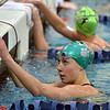 Niwot's Hannah Driscoll looks up after swimming the 50 yard freestyle during the Colorado Coaches Association Invitational at the Veterans Memorial Aquatic Center in Thornton on Saturday.<br /> December 14, 2012<br /> staff photo/ David R. Jennings