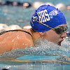 Broomfield's Kendell Wingfield swims the breast stroke  in the 200 yard Medley Relay during the Colorado Coaches Association Invitational at the Veterans Memorial Aquatic Center in Thornton on Saturday.<br /> December 14, 2012<br /> staff photo/ David R. Jennings