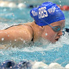 Broomfield's Elizabeth Peterson swims the butterfly in the 200 yard Medley Relay during the Colorado Coaches Association Invitational at the Veterans Memorial Aquatic Center in Thornton on Saturday.<br /> December 14, 2012<br /> staff photo/ David R. Jennings