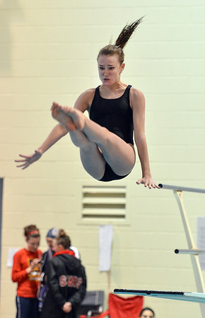 Monarch's Savannah Magness makes a dive during the Colorado Coaches Association Invitational at the Veterans Memorial Aquatic Center in Thornton on Saturday.<br /> December 14, 2012<br /> staff photo/ David R. Jennings
