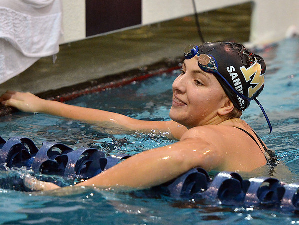 Monarch's Amanda Sanders after finishing swimming the 50 freestyle during the Colorado Coaches Association Invitational at the Veterans Memorial Aquatic Center in Thornton on Saturday.<br /> December 14, 2012<br /> staff photo/ David R. Jennings