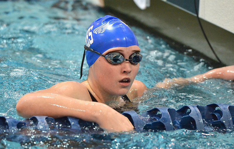 Broomfield's Jennifer Young looks at her time after swimming the freestyle in the 200 yard Medley Relay during the Colorado Coaches Association Invitational at the Veterans Memorial Aquatic Center in Thornton on Saturday.<br /> December 14, 2012<br /> staff photo/ David R. Jennings