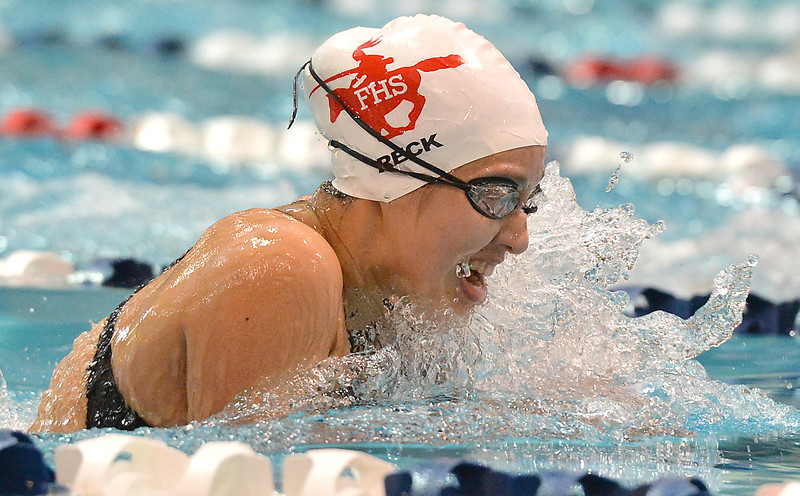 Fairview's Caitin Reck swims the breaststroke in the 200 yard medley relay during the Colorado Coaches Association Invitational at the Veterans Memorial Aquatic Center in Thornton on Saturday.<br /> December 14, 2012<br /> staff photo/ David R. Jennings