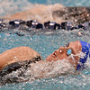 Broomfield's Kate Peterson swims the backstroke in the 200 yard Medley Relay during the Colorado Coaches Association Invitational at the Veterans Memorial Aquatic Center in Thornton on Saturday.<br /> December 14, 2012<br /> staff photo/ David R. Jennings